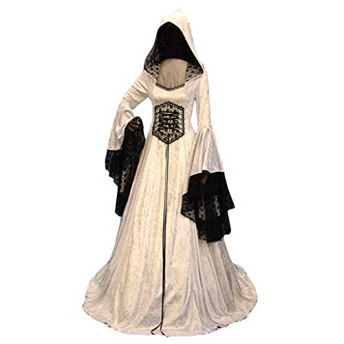 NPRADLA Damen Mode Langarm Mit Kapuze Mittelalterliches Kleid Bodenlangen Cosplay Mittelalter Retro-Stil Tunika(2XL,Z-Weiß)
