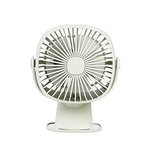 Scatola quadrata Girevole a 360 ° Usb Luce notturna Ventilatore Desktop Studente Ufficio Dormitorio Scrivania Clip Ventilatore Muto-Verde