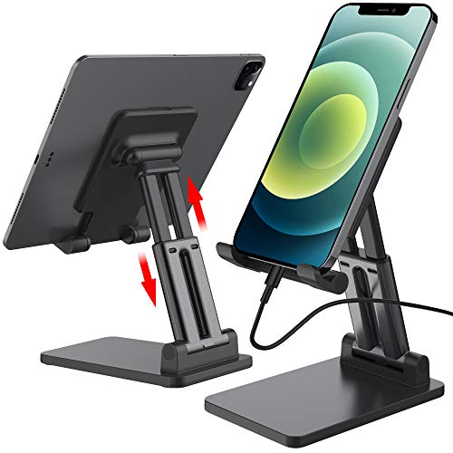 Cell Phone Stand, Angle Height Adjustable Phone Stand for Desk, Foldable & Portable Phone Holder Compatible with iPhone 11 12 Max XR, Switch, iPad,Tablet and All Mobile Phones (Black)