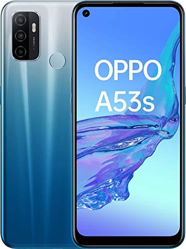 OPPO A53s Smartphone, 186 g, Display 6.5  HD+ LCD, 3 Fotocamere 13 MP, RAM 4 GB + ROM 128 GB Espandibile, Batteria 5000 mAh, Ricarica Rapida, Dual Sim, [Versione Italiana], Colore Fancy Blue