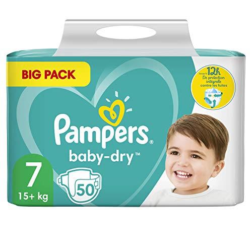 Pampers Baby-Dry - Pañales (talla 7, 50 unidades, hasta 12 horas de protección total, 15 kg, 2 unidades de 1700 g)