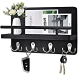 Wooden Key Holder and Mail Organizer Wall Mounted, Decorative Wood Key Hangers for Wall with Shelf, Hanging Mail Sorter with 5 Key Hooks, Home Decor and Bill Letter Storage for Entryway,Hallway…