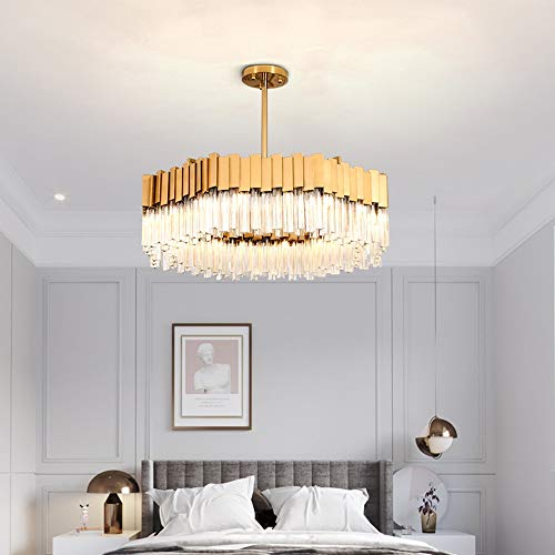 CHENJUNAMZ Lámpara LED de luz dorada europea moderna de hotel, sala de estar, comedor, dormitorio, estudio 60 x 60 x 25 cm