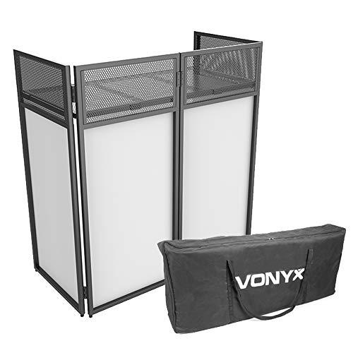 VONYX Foldable Mobile DJ Booth Deck Stand Screen Facade Mixer Laptop DJ Equipment Desk