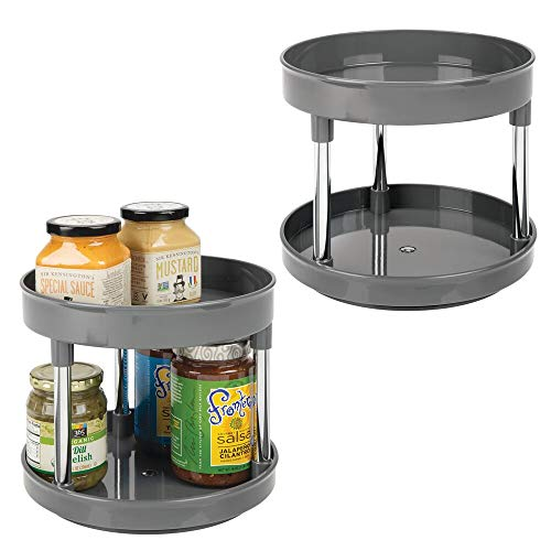 mDesign Especiero Giratorio de 2 Pisos – Práctico Estante para Especias para los armarios de Cocina o la encimera – Soporte Giratorio de plástico sin BPA para condimentos – Juego de 2 – Gris O