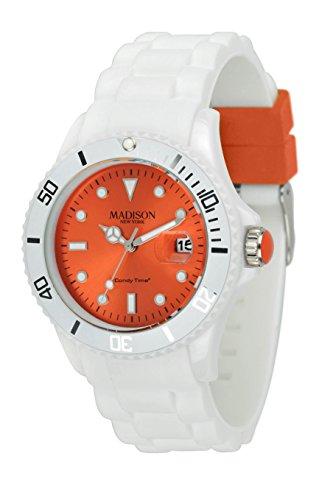 Madison New York Unisex-Armbanduhr Candy Time White Fashion Analog Quarz Silikon U4359F1