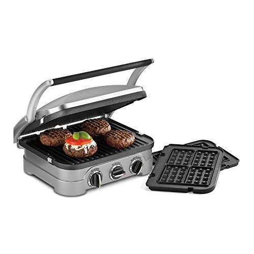 Cuisinart 5-in-1 Grill Griddler Panini Maker Bundle with Waffle Attachment (GR-4N) - Includes Grill and Waffle Plates (Renewed)