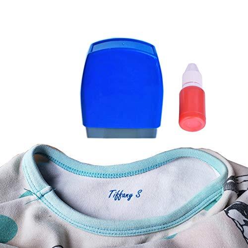 Sello de nombre personalizado para uniforme escolar, ropa de tela, sello de tela con sello personalizado para niños de guardería, color negro, azul y rojo.