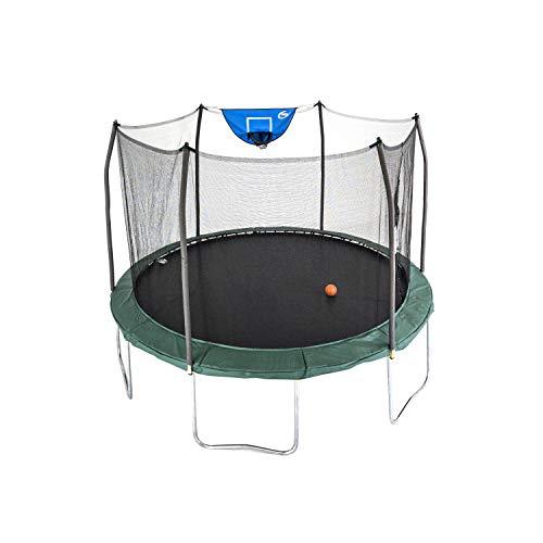 Skywalker Trampolines 12-Foot Jump N' Dunk Trampoline with Enclosure Net - Basketball Trampoline, Green