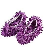とても実用的です 洗えるマイクロファイバーモップスリッパ靴カバー、床清掃ダストクリーナーシューズ浴室オフィスキッチン紫のスタイリッシュで のあるモップ詰め替え使いやすくて、楽になる