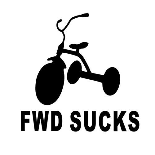 DSRLO Autoaufkleber 12.5 * 12.5Cm FWD saugt Fahrrad-Vorderradantrieb-Auto-Aufkleber-Abziehbild-Spaß-Auto, das Schwarzes/Silber anredet