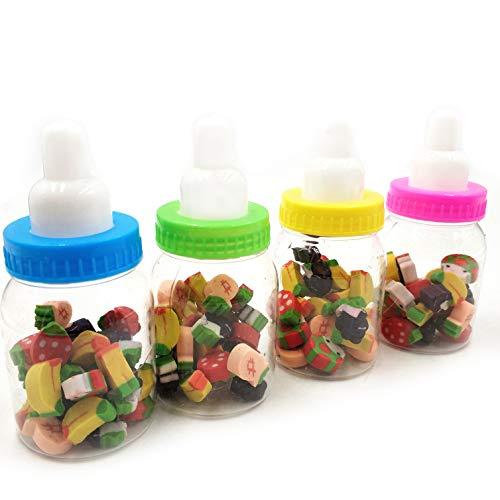 Juego de gomas de borrar para niños y estudiantes, mini, gomas de borrar de colores Kawaii, en biberón, artículos escolares, para lápiz, obsequios, juguetes infantiles, material escolar, 4 unidades