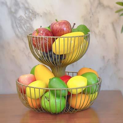 ZJYWMM 2 nivåer fruktkorg järn rostfri frukt korghållare bänk dekorativ skålstativ för förvaring och organisering av grönsaker, champagne