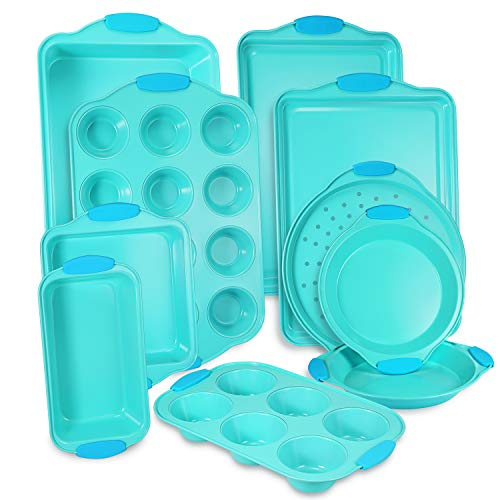 10-Piece Nonstick Bakeware Set with Blue Silicone Handles with Baking Pans, Baking Sheets, Cookie Sheets, Muffin Pan, Bread Pan, Pizza...