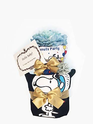 おむつケーキ 出産祝い パンパースS13枚 豪華 トートバッグ/巾着袋 ダイパーケーキ キャラクター (スヌーピー(Black))