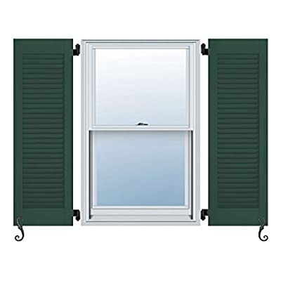 """Atlantic Architectural All Louver, Louver Colonial Shutters (Per Pair), 13""""W X 52""""H, Forest Green"""