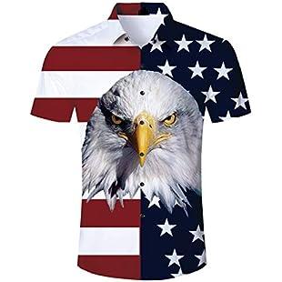 TUONROAD Eagle Printed Hawaiian Shirt Short Sleeve American Flag Floral Relaxed Holiday Button Down Shirt Casual Regular Aloha Hawaiian Shirt Luau Clothes for Men:Deepld