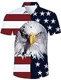 TUONROAD Camisa Hawaiana para Hombre 3D Estampada Funny Águila Bandera USA Camisas de Playa Multicolor Modelo Casual Manga Corta Camisas Verano Camisa del Tema en la Fiesta de Bodas Cumpleaños - M
