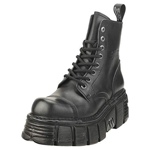 New Rock Militärstiefel für Damen, Leder, Schwarz, Original-Plattform M.NEWMILI083-S39, Schwarz - Schwarz - Größe: 39 EU