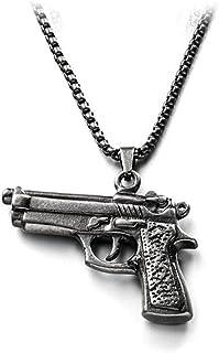 قلادات الهيب هوب التيتانيوم الصلب قلادة محب شخصية رشاش بندقية قلادة الأولاد سلسلة مجوهرات بسيطة زينة (Color : C)