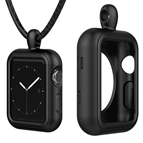 X-MARKET Custodia protettiva per Apple Watch 3 2 1, in silicone [nero] elastico, massima protezione da cadute e urti per Apple Watch Serie 1   Serie 2   Serie 3 (42 mm m, nero)