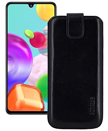Suncase ECHT Ledertasche Leder Etui *Slim-Edition* kompatibel mit Samsung Galaxy A41 Hülle Tasche (mit Rückzugsfunktion & Magnetverschluss) in schwarz