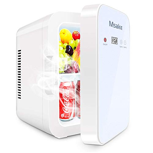 Mini Fridge, 10 Liter/8 Can Compact Refrigerator Cooler and Warmer Thermoelectric with AC/DC Power for Skincare Medications and Breast Milk Storage, Home Office and Travel