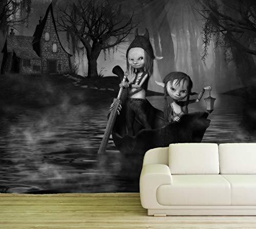 Vlies Tapete Poster Fototapete Fantasy Troll Hexenhaus Farbe schwarz weiß, Größe 100 x 80 cm selbstklebend