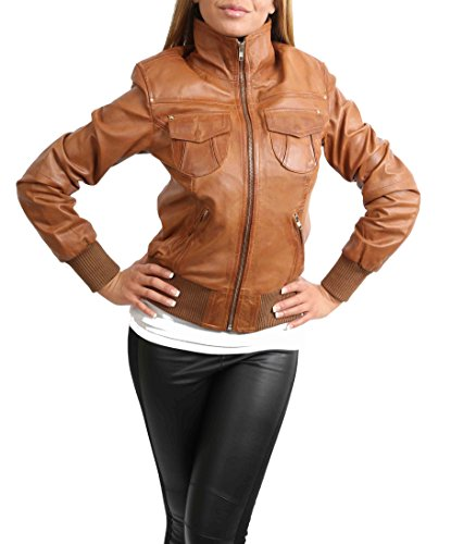 House of Leather Damen Bomber Echt Lederjacke Kurz Slim Fit Beiläufig Blouson Motto Hellbraun (L (40))