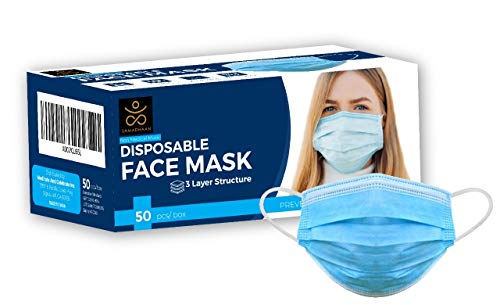 Samadhaan Disposable Mask - Safety Face Mask (Pack of 50) Non Woven Thick 3-Layer Breathable Facial Masks with Adjustable Earloop, Anti Droplets, Mouth and Nose Protection Dust Masks