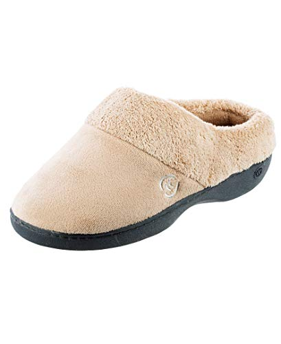 isotoner womens Terry in Clog, Memory Foam, Comfort and Arch Support, Indoor/Outdoor Slip on Slipper, Taupe, 9.5-10 US
