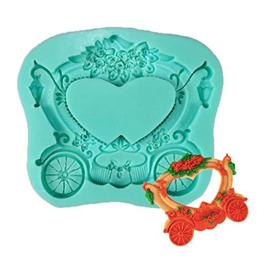 JIUYECAO Molde en forma de corazón del silicón de la hornada del marco para el amor flotante, moldes del silicón de la Cenicienta del carro para la torta del chocolate del fondant