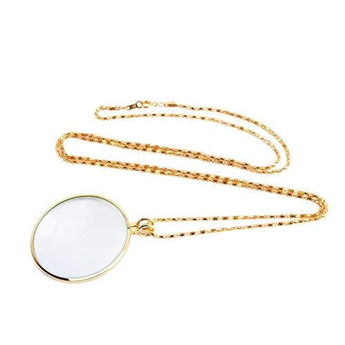 KANJJ-YU Decorativo monóculo Collar con 5X Lupa Lupa de Oro Colgante de Plata Collar de Cadena de joyería for Las Mujeres LED (Color : As pic4)