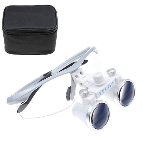 TopSeller歯科 拡大鏡 双眼ルーペ メガネ式拡大鏡 3.5倍拡大鏡 420mm 光学拡大鏡 光学ルーペ 虫眼鏡 軽量 デンタル用 実験室用 研究用ルーペ 技工用 収納ボックス付き ケース付き 携帯便利 (銀)