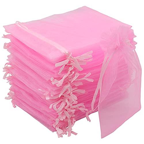 Leeyunbee 100PCS 10x15cm Bolsa de Organza Rosa, Bolsitas de Organza, Bolsas para...