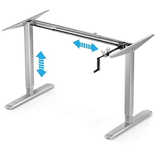 Deskfit - Gesund Arbeiten! Höhenverstellbarer Schreibtisch, 2fach Teleskop Säulen Tischgestell DF100, manuell stufenlos ergonomisch höhenverstellbar, Kurbel klappbar –für Jede gängige Büro Tischplatte
