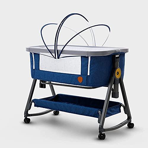 ZGYZ Cunas de Noche Cama de Noche,Cama de bebé con Compartimento para Dormir portátil con Ventana de Malla Transpirable y Ajustable de 6 Alturas,Gris