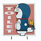 Agility Wall Mounting Home Decor Bedroom Kitchen Hanger Hat Bag Necklace Key Hand Towel Belt Wood 7.87' x 7.87' 2 Hooks Pink Doraemon Toilet's Photo Base