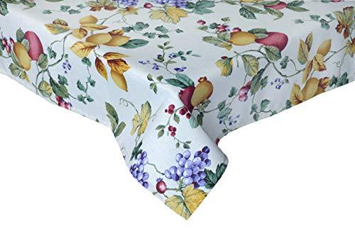Provencestoffe.com Zauberhafte Mitteldecke. Tischdecke ca. 100x100 cm, Natur mit Früchten, pflegeleicht