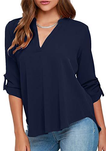 TYQQU - Blusa para mujer (gasa, cuello en V, informal, cómoda) Azul oscuro. XXL