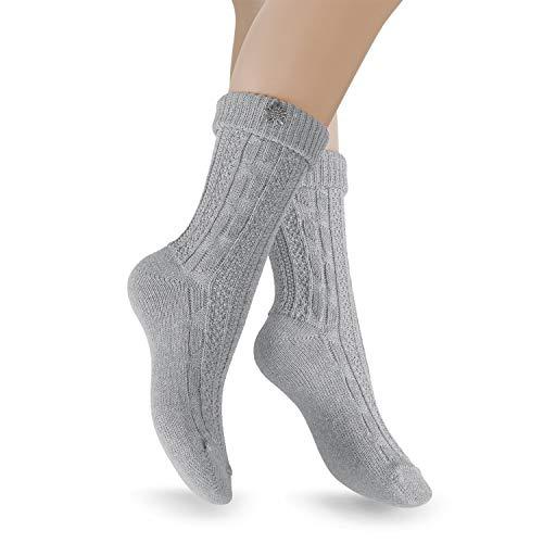 Celodoro Damen & Herren Trachten Socken (2 Paar) mit Edelweiß-Pin, Oktoberfest Strümpfe - Grau 35-38