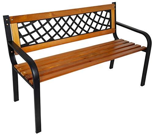 Trendyshop365 Garten-Bank Massiv-Holz Metall 118cm FSC Braun Schwarz Sitzbank Parkbank 2 Sitzer