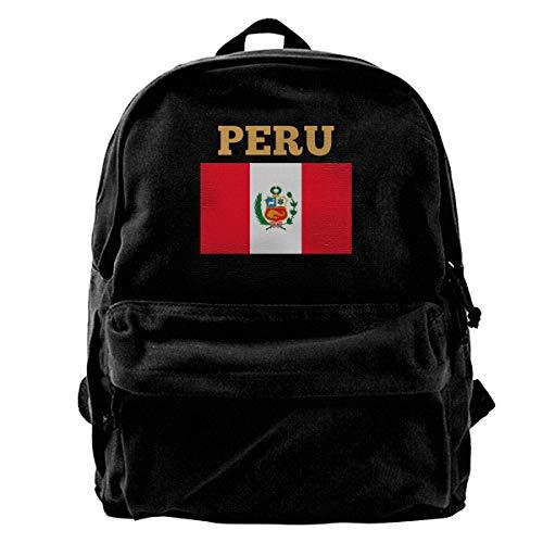 Mochila Escolar Bandera De Perú Mochila De Lona Estampado Escolar Hombres Mujeres Mochila Ligera Cumpleaños Casual Bolsos De Hombro Mochila De Viaje Linda Libro Mochi