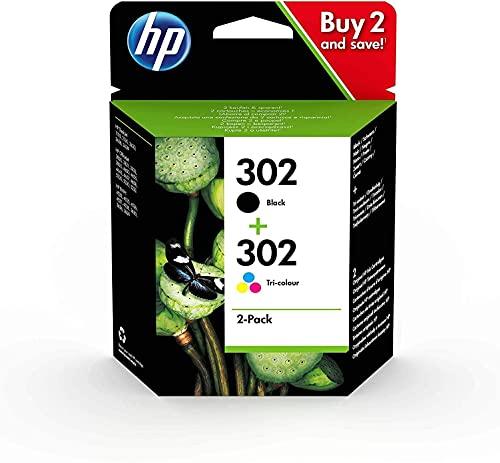HP 302 X4D37AE, Pacco di 2 Cartucce originali Nero e Tricolore, compatibili con HP DeskJet 1110,2130,3630; ENVY 4520; OfficeJet 3830,4650,5220,5230