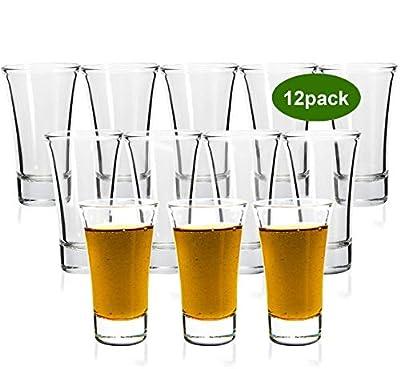 Shot Glasses, YULEER 2oz Clear Heavy Base Shot Glass Set, 12 pack Shooter Glass fFor Spirits & Liquors