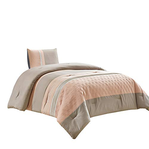 WPM WORLD PRODUCTS MART 2 Piece Peach Taupe Down Alternative Comforter Set Twin Size Bedding Includes Comforter and Pillow Sham for Kids/Girls/Teens Bedroom Dorm Room- LOLA(Peach/Taupe, Twin)