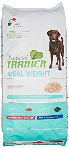Natural Trainer Ideal Weight - Cibo Secco per Cani Adulti di Taglia Media e Grande, con Carni Bianche, 12 kg