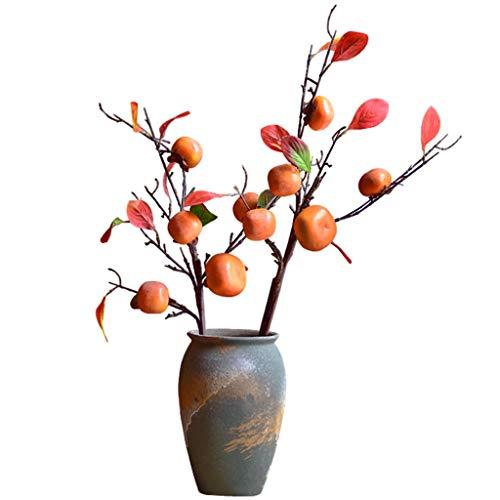 YUESFZ Künstliche Blumen, Simulation Der Obstbaumdekoration, Idyllische Künstliche Kaki-Gartenstatue, Performance Shooting Requisiten (Color : Persimmon*2+Vase)