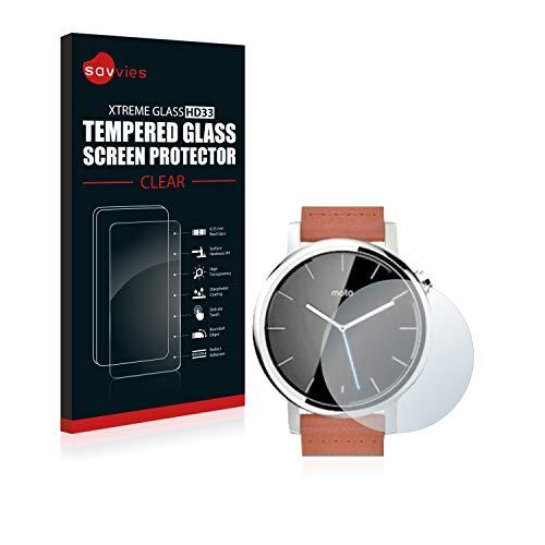 savvies Cristal Templado Compatible con Motorola Moto 360 42 mm (2da generación) Protector Pantalla Vidrio Proteccion 9H Pelicula Anti-Huellas