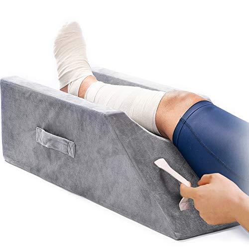 LightEase Almohada de espuma viscoelástica para piernas y elevación con asas dobles para cirugía, lesiones o descanso